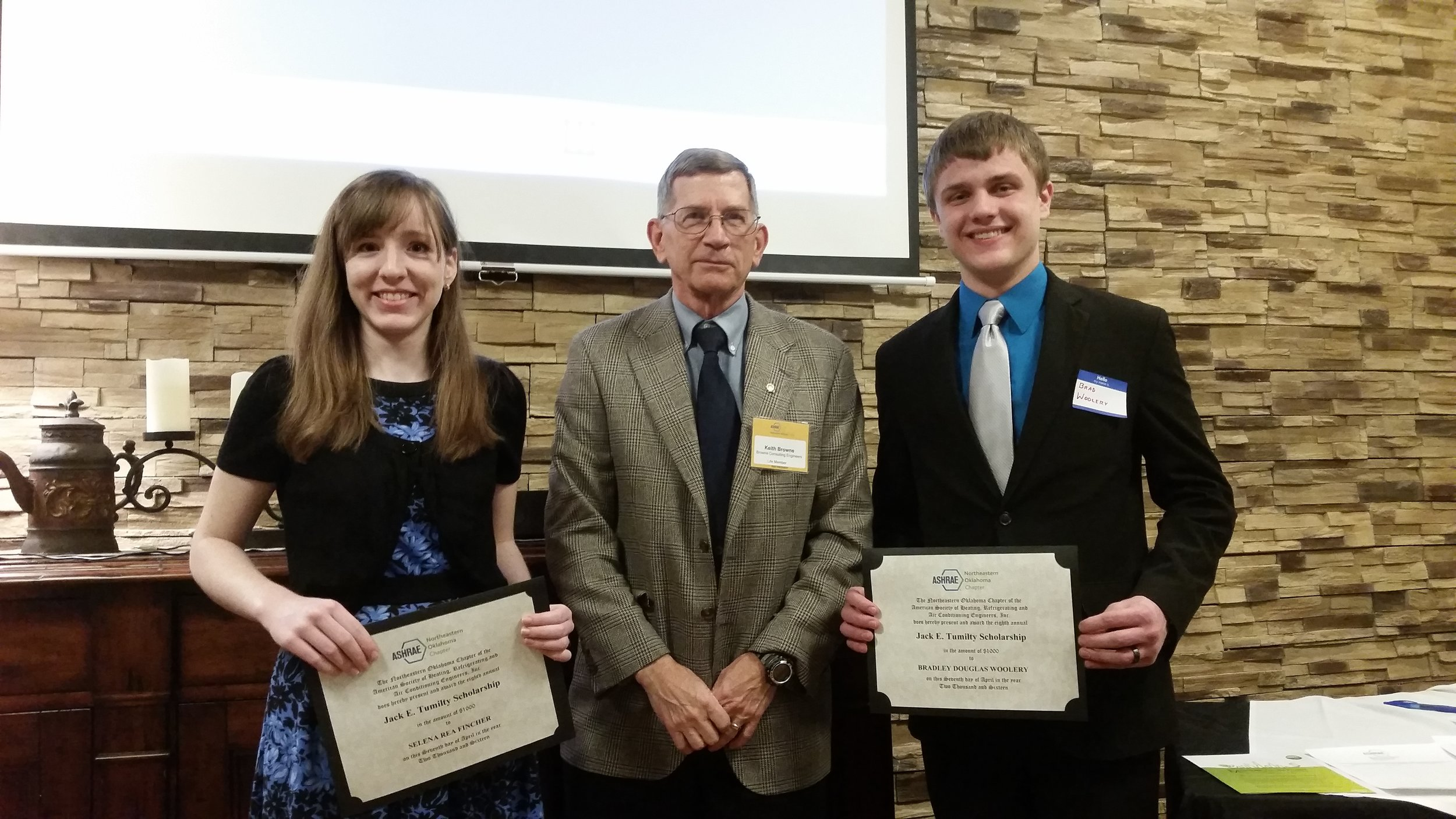 Tumilty Scholarship Recipients: Selena Fincher (left) and Brad Woolery (right) with Keith Browne.