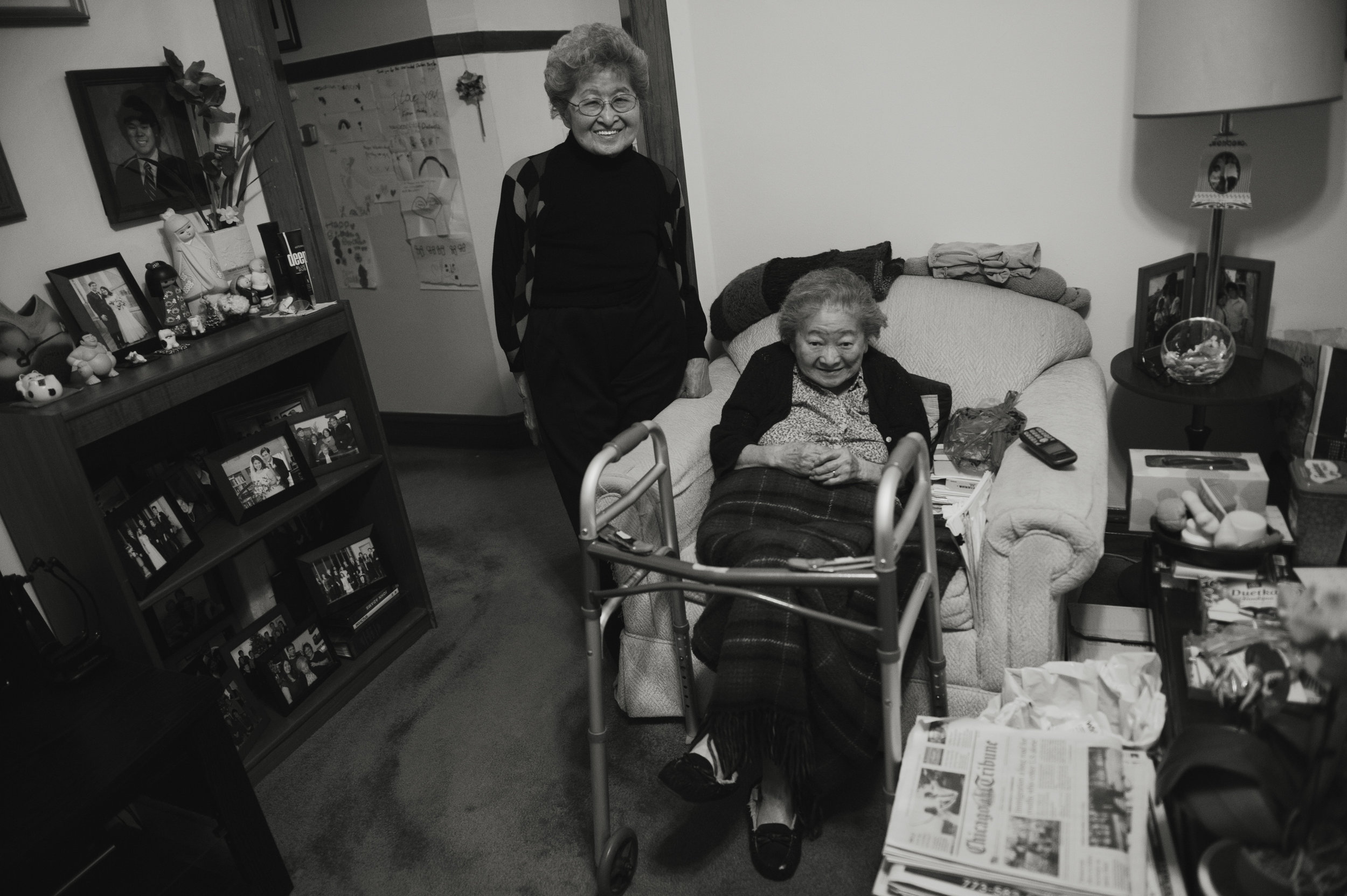 Fumiko (left) and her older sister Yayeko have lived together in the same building for 59 years.