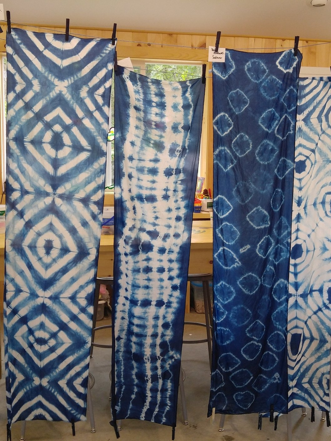 Hannah Pants - Shibori, a centuries old fabric dying process involving binding to create resist areas, and dyed using the indigo pigment