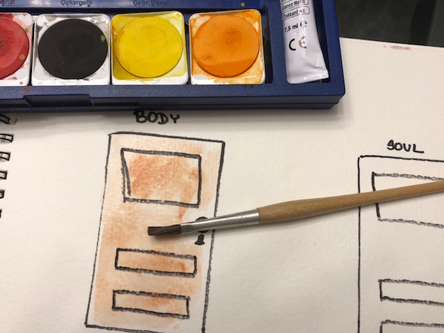 I chose to use water colors because they have wonderful meditative qualities, but feel free to use whatever you want, or you can leave them without color.