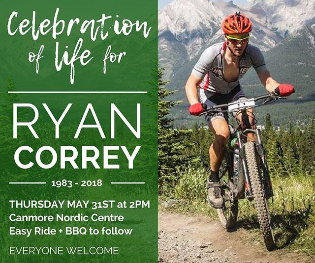 Join us in to celebrating Ryan's beautiful life ❤️🚵♂️ Full details on Facebook. . #canmore #apurposehidden #rideforryan #celebrationoflife #ryancorrey