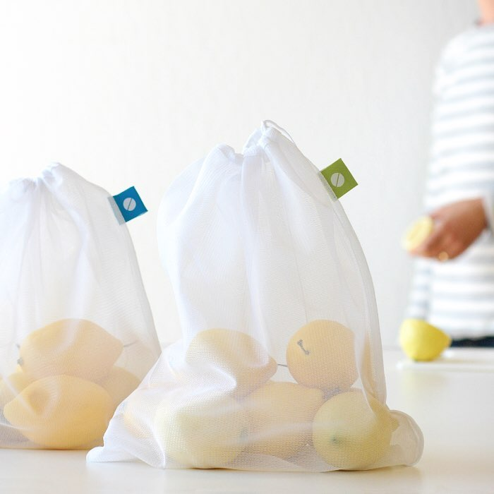 10. Produce bags - Mesh bags, or simple cotton bags. I don't go grocery shopping or to the farmers market without these. Not only can they be used when shopping produce at the grocery store/market, but they can be used when you're buying a cookie, muffin, scone, etc. when you're out and want to save a disposable sleeve. This is another easy one to store inside your reusable grocery bags and have them with you when you're shopping.