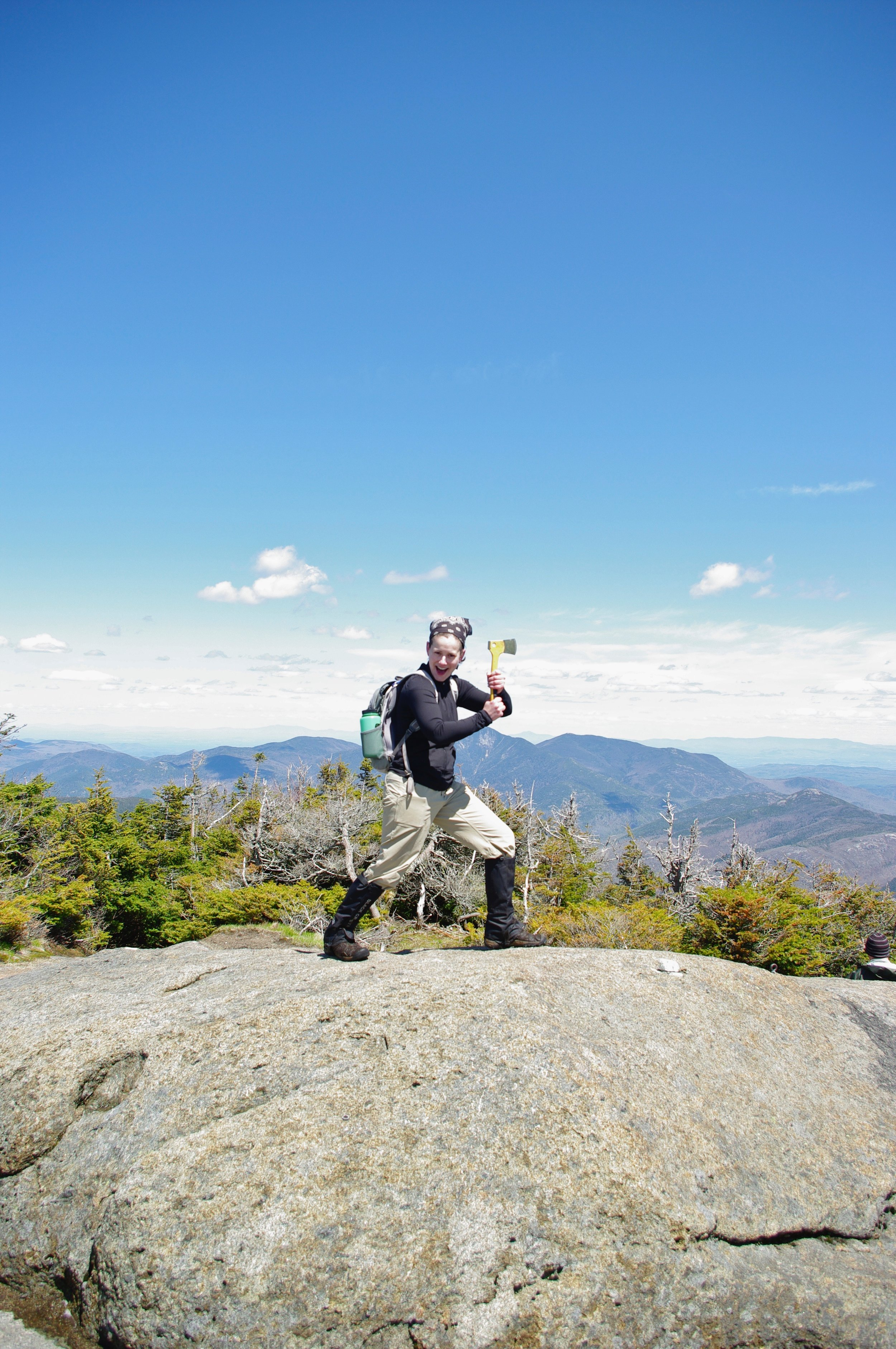 ...just look at that outdoorsy enthusiasm,at the peak of Gothics Mountain in the Adirondacks.
