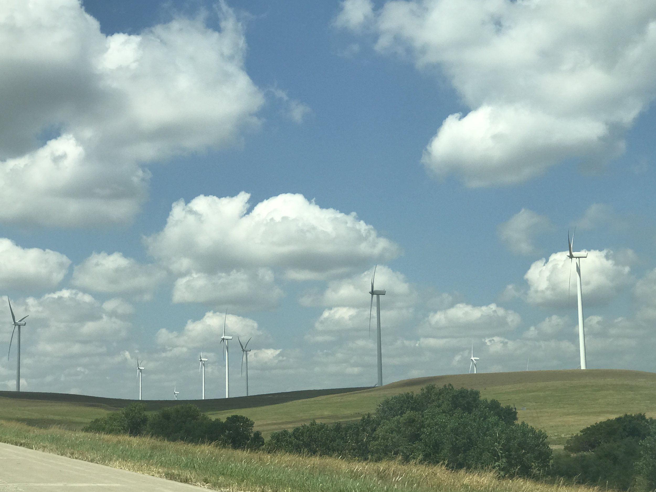 The flatness of Kansas, is ideal for wind farming, throughout Ellsworth County.
