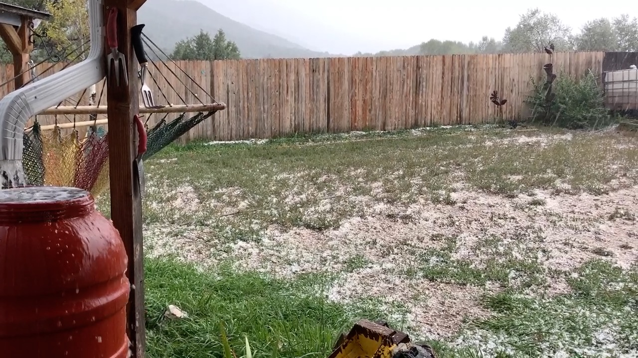 Hail accumulating during an afternoon storm. It looked as if a bean bag chair exploded, everywhere.