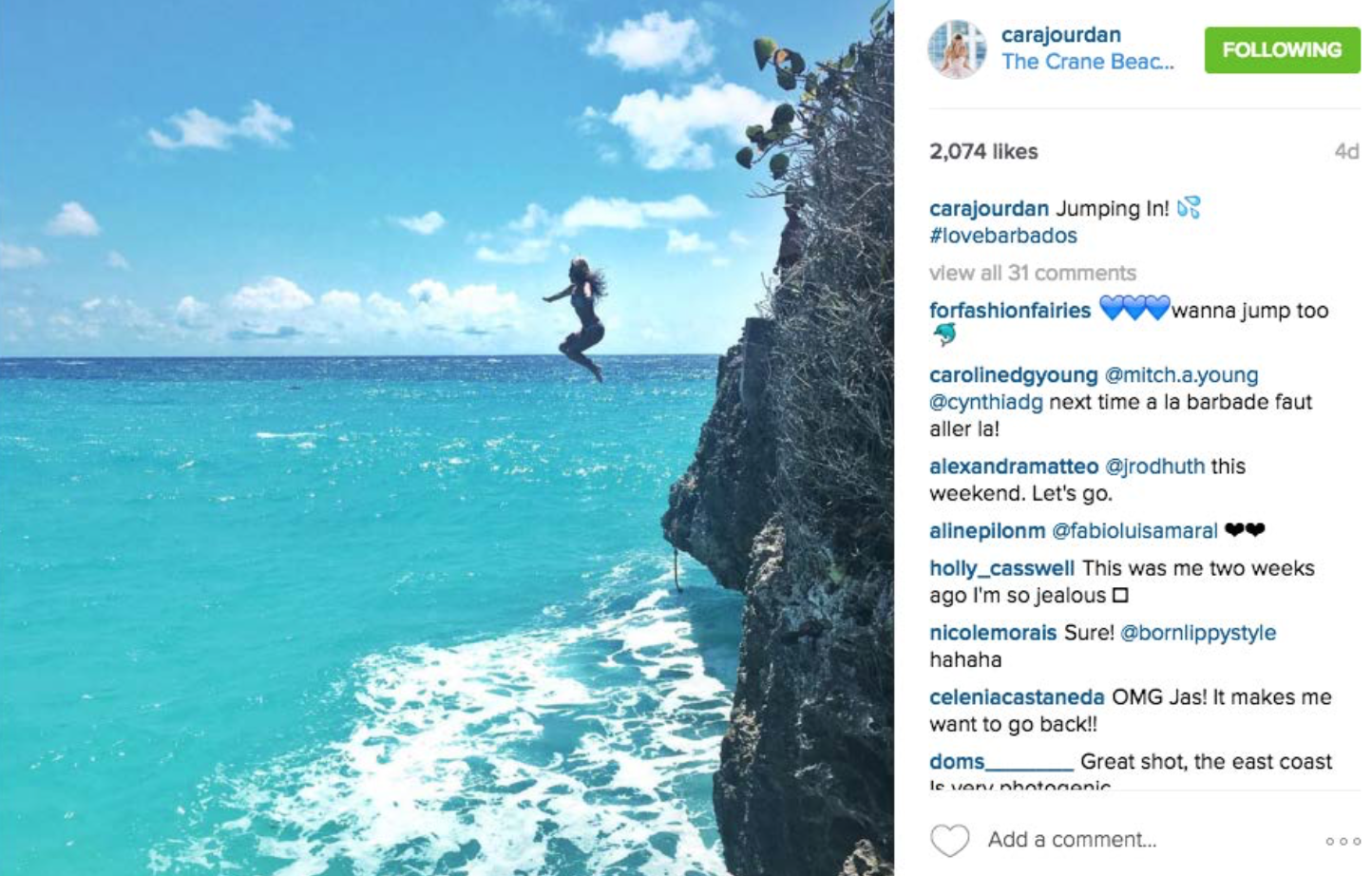 @carajourdan Instagram: Jumping in! #lovebarbados