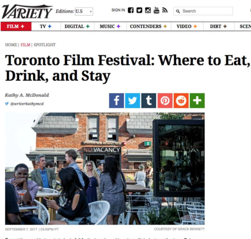 VARIETY MAGAZINE TIFF: Where to Eat, Drink and Stay