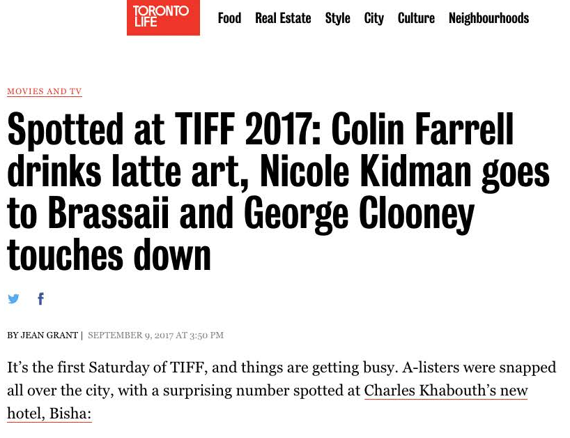 TORONTO LIFE Spotted at TIFF 2017