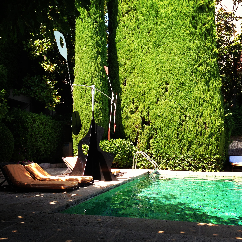Splendid Calder sculpture by the pool at La Colombe d'Or