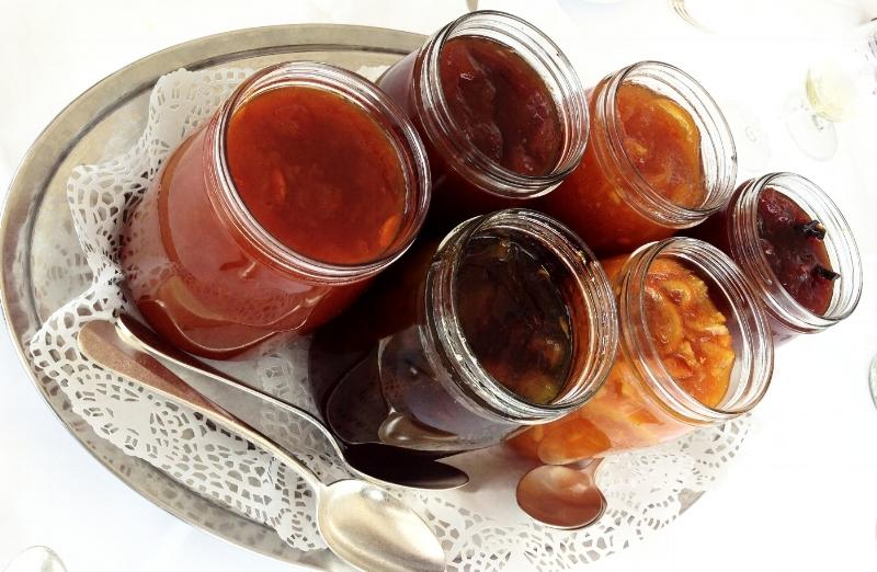 Homemade marmalade jars at Tetou