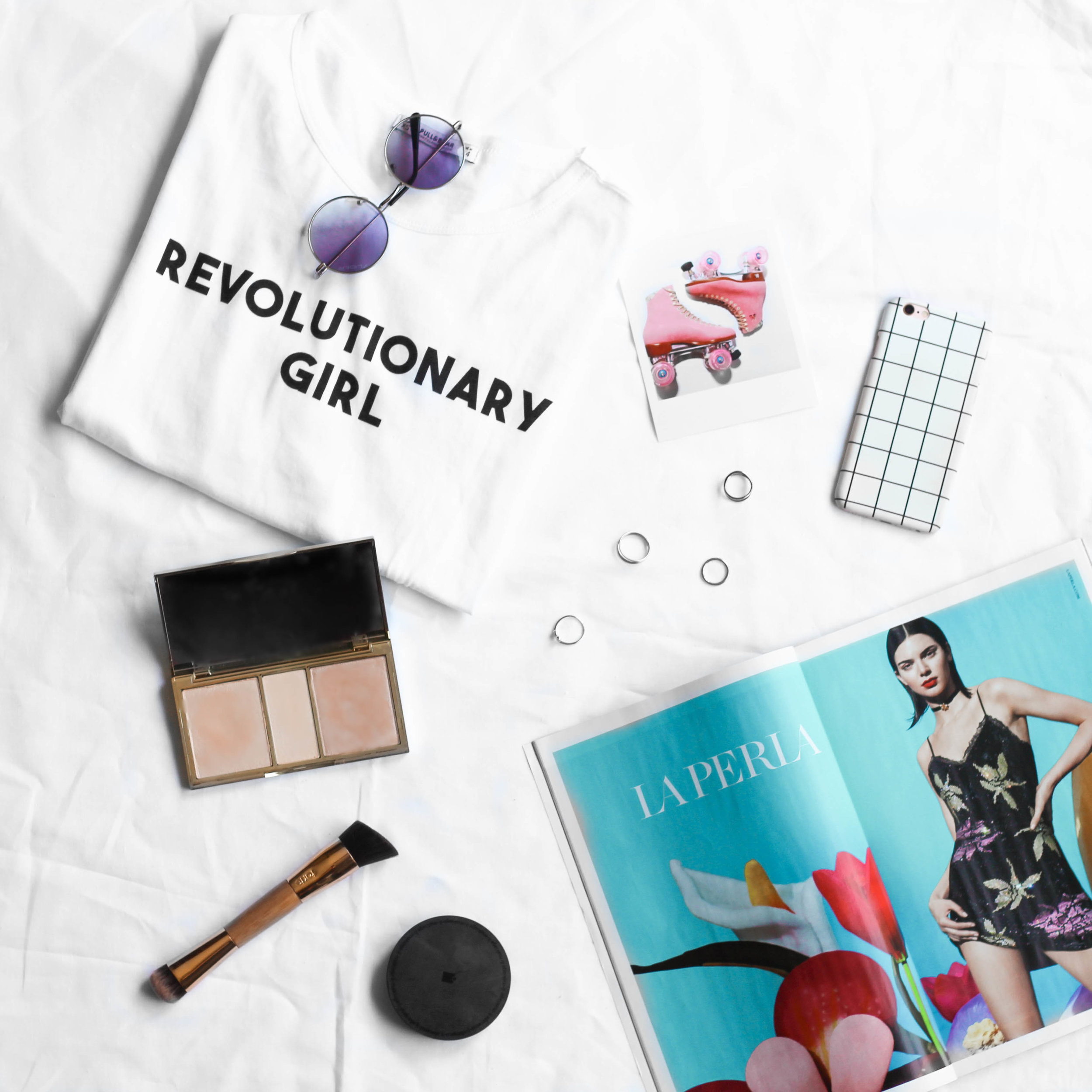 The flatlays include items that are common in Naomi's photos, with makeup products and fashion magazines - to bring a little bit of me into the photo.