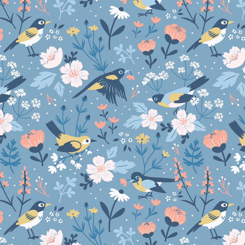 Birds & Blooms (Blue)