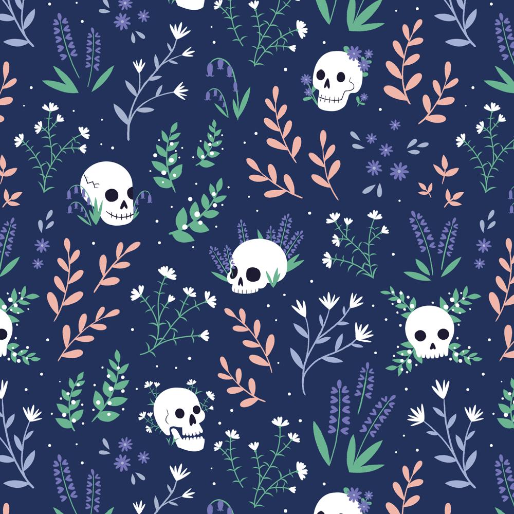 Skull Floral Blue