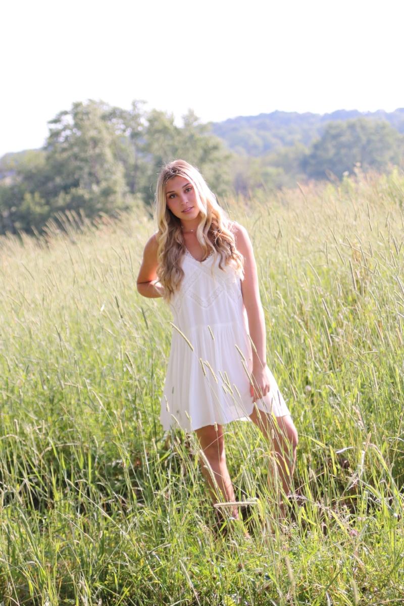 My daughter, Grace, in the Hummingbird white summer sundress.