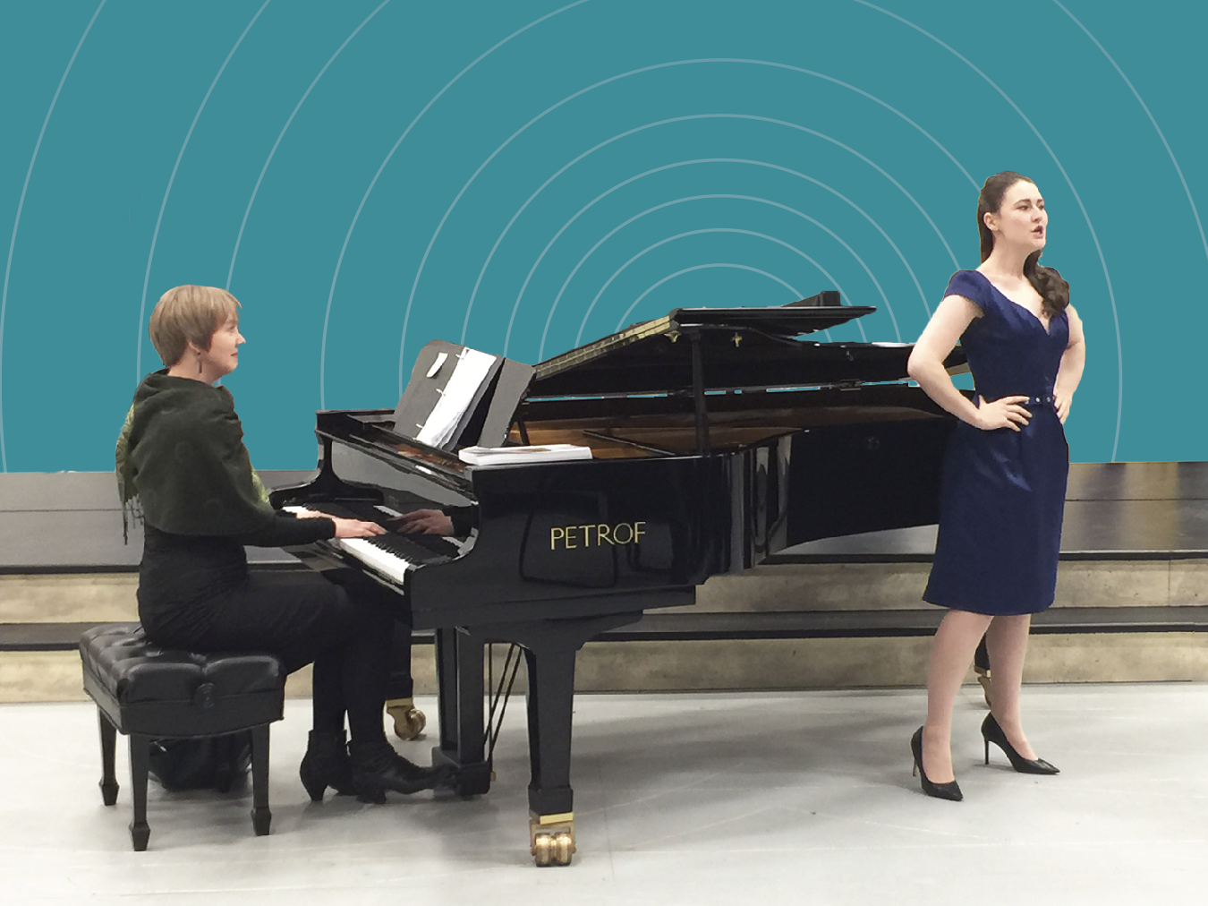 Pianist Leanne Regehr and soprano Caitlin Wood with Edmonton Opera's new Petrof grand piano.