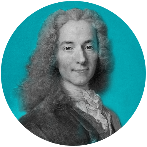 VOLTAIRE - François-Marie Arouet, known by his pseudonym Voltaire, was a French Enlightenment writer, historian and philosopher. Candide is based on his 1759 novella of the same name.