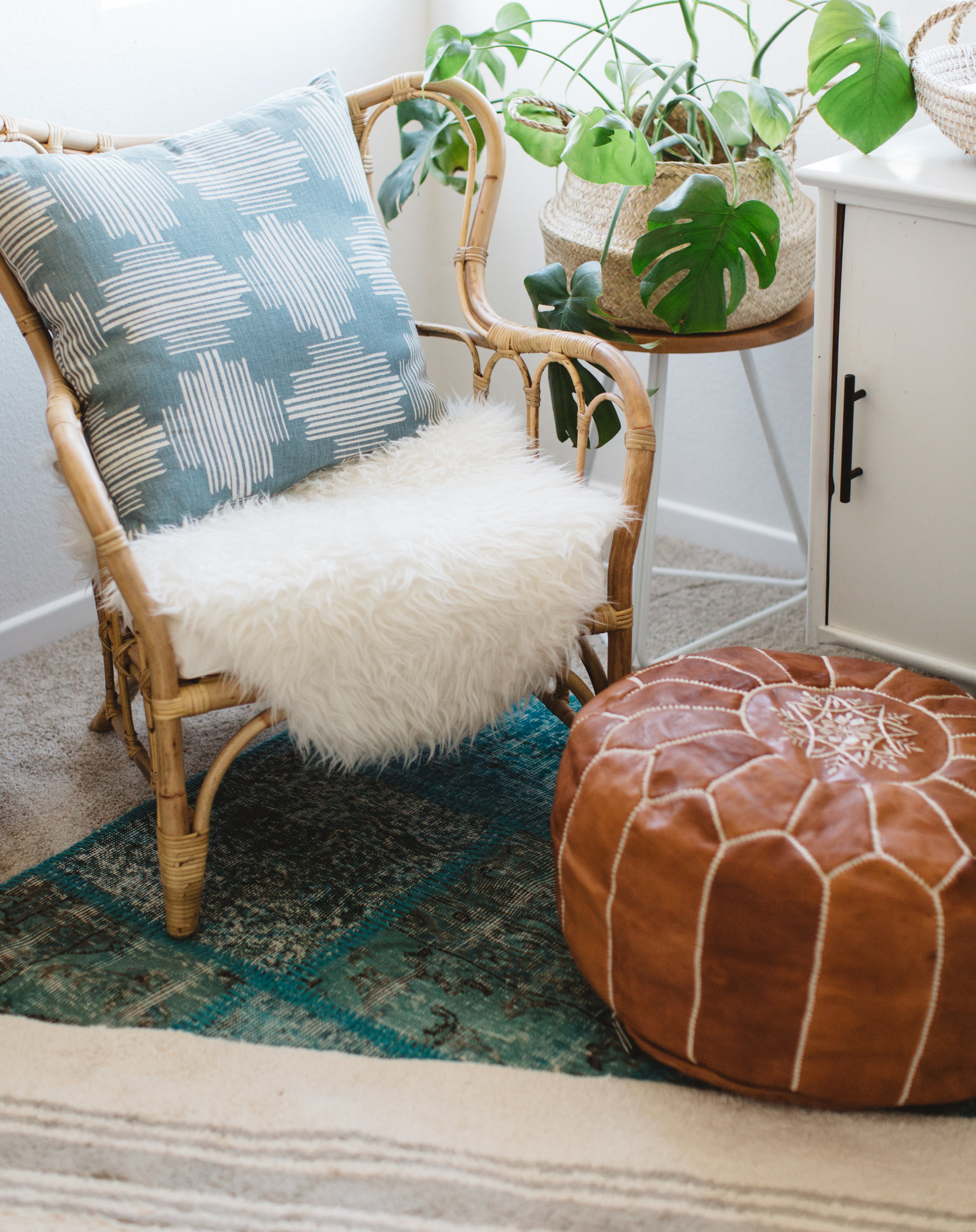 Pillow:  Loom Goods  / Side Table:  Rael Made