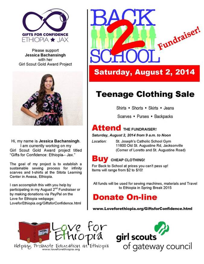August 2014First Fundraiser - Back-To-School Clothing Sale - Jessica partnered with Whole Foods in Jacksonville to host a clothing donation drop-off. The clothes were sorted based on gender and style. The sale took place in the gym at St. Joseph's School in Jacksonville. Over $600 was raised from this sale.Watch this fundraising video that was put together in the early stages.