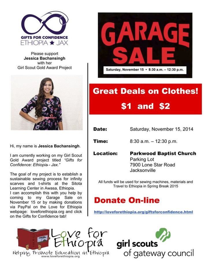 November 2014Third Fundraiser - Large Garage Sale - The clothes were sold in the parking lot of the Ethiopian church in Jacksonville. We raised almost $700 from this sale. The remainder of the clothes were sold by the pound and recycled. Thank you to everyone who donated clothes along the way!