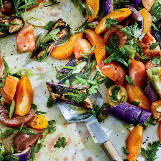 Grilled Eggplant, Apricot and Tomato Salad  See recipe
