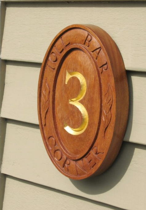 House sign Mahogany and gold leaf