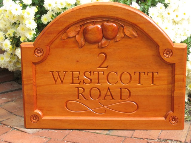 House sign in Mahogany
