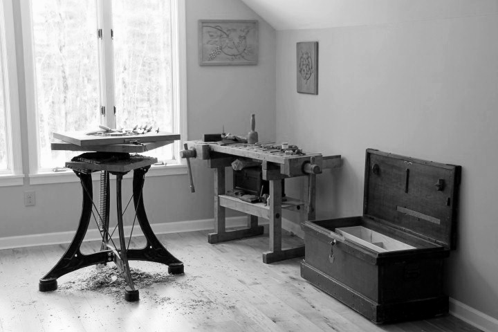 The second floor loft area of my workshop now serves as a carving studio and gallery