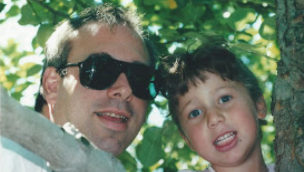 My dad, supporting me in my early years. We were apple-picking.
