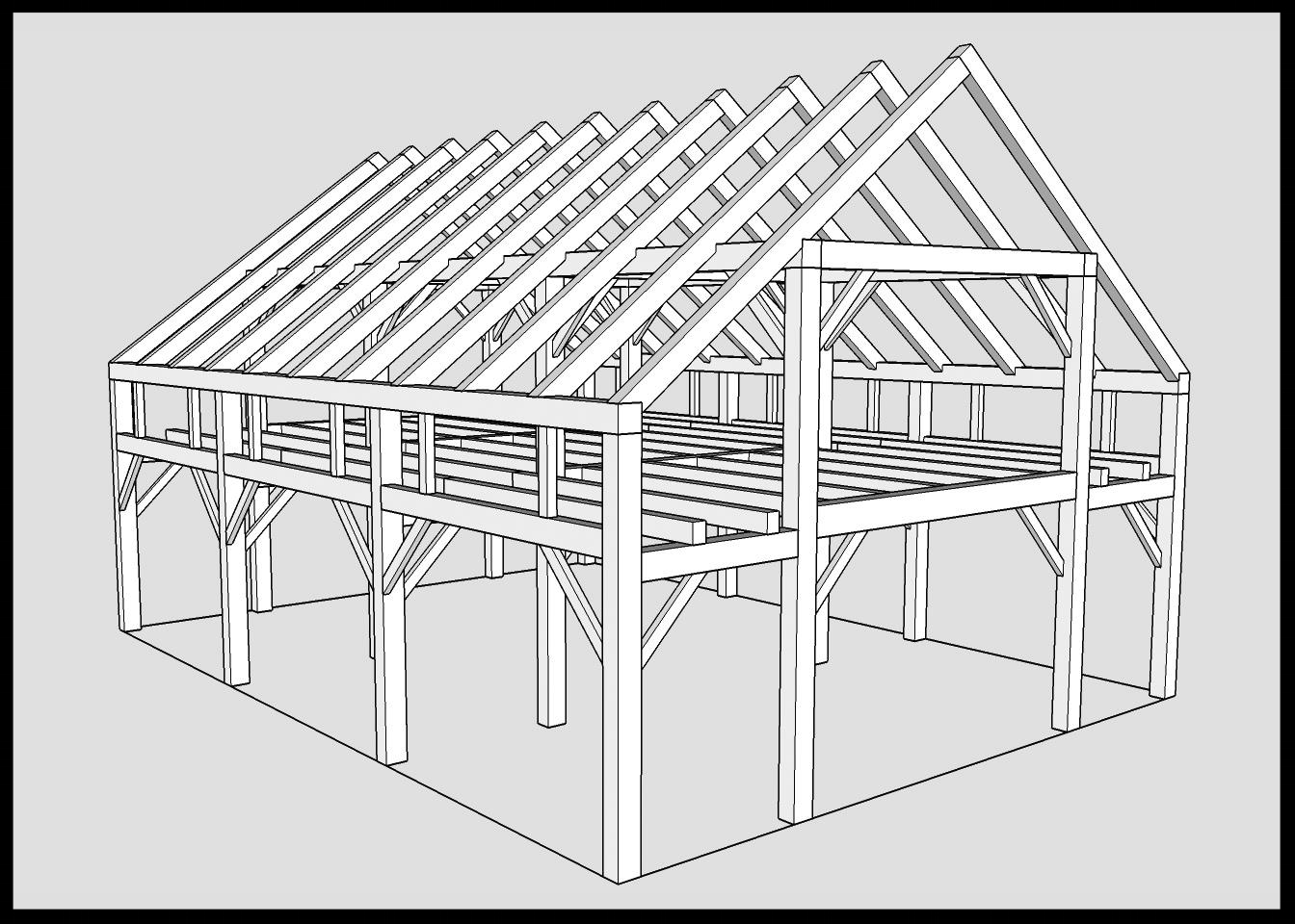 30x40 Barn Frame - Rough Pine Timbers $32,800Planed Pine Timbers $36,200