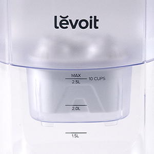 10-Cup Capacity   One pitcher is able to house 10 cups (2.5 L) of water at a time. Liter marks along the side of the pitcher serve as an extra guide so you can gauge your water intake or use (e.g., for cooking).