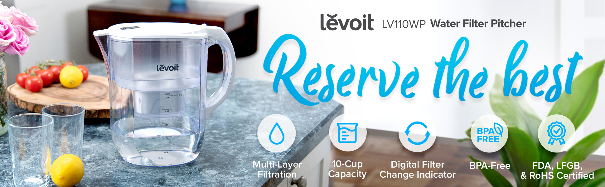 LEVOIT 10 Cup Water Filter Pitcher Large Purifier with Electronic Filter for