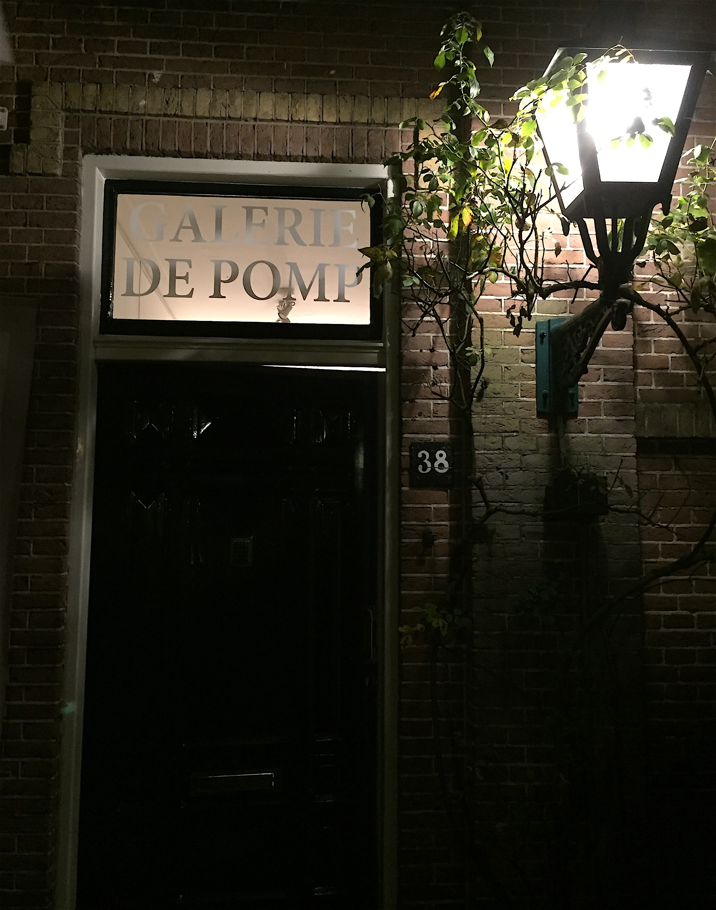 The entrance by night.