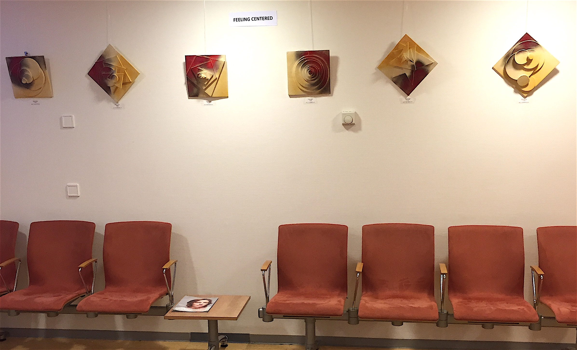 "2D Wall Art ""Feeling Centered"" in the waiting room of nuclear medicine."