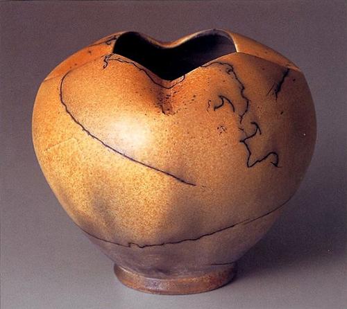 "2006 Mashiko Special Judges Award in MASHIKO Ceramics International Competition with my Horsehair Raku ""Four Season"" Vase."