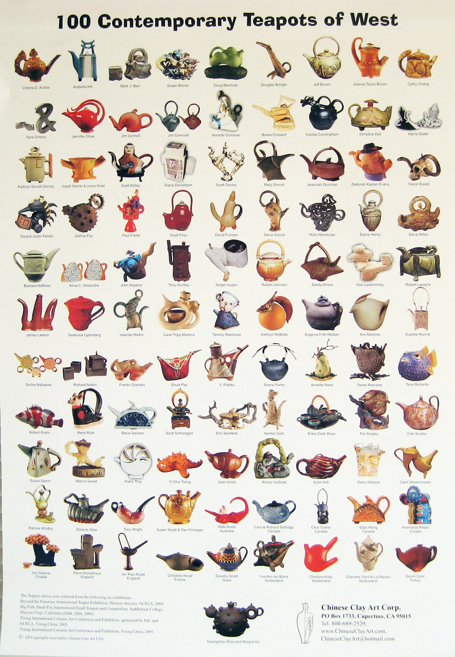 "2009 July: Poster of 100 Contemporary Teapots of the West with my ""Kamakura-Red ""Bamboo"" Teapot."
