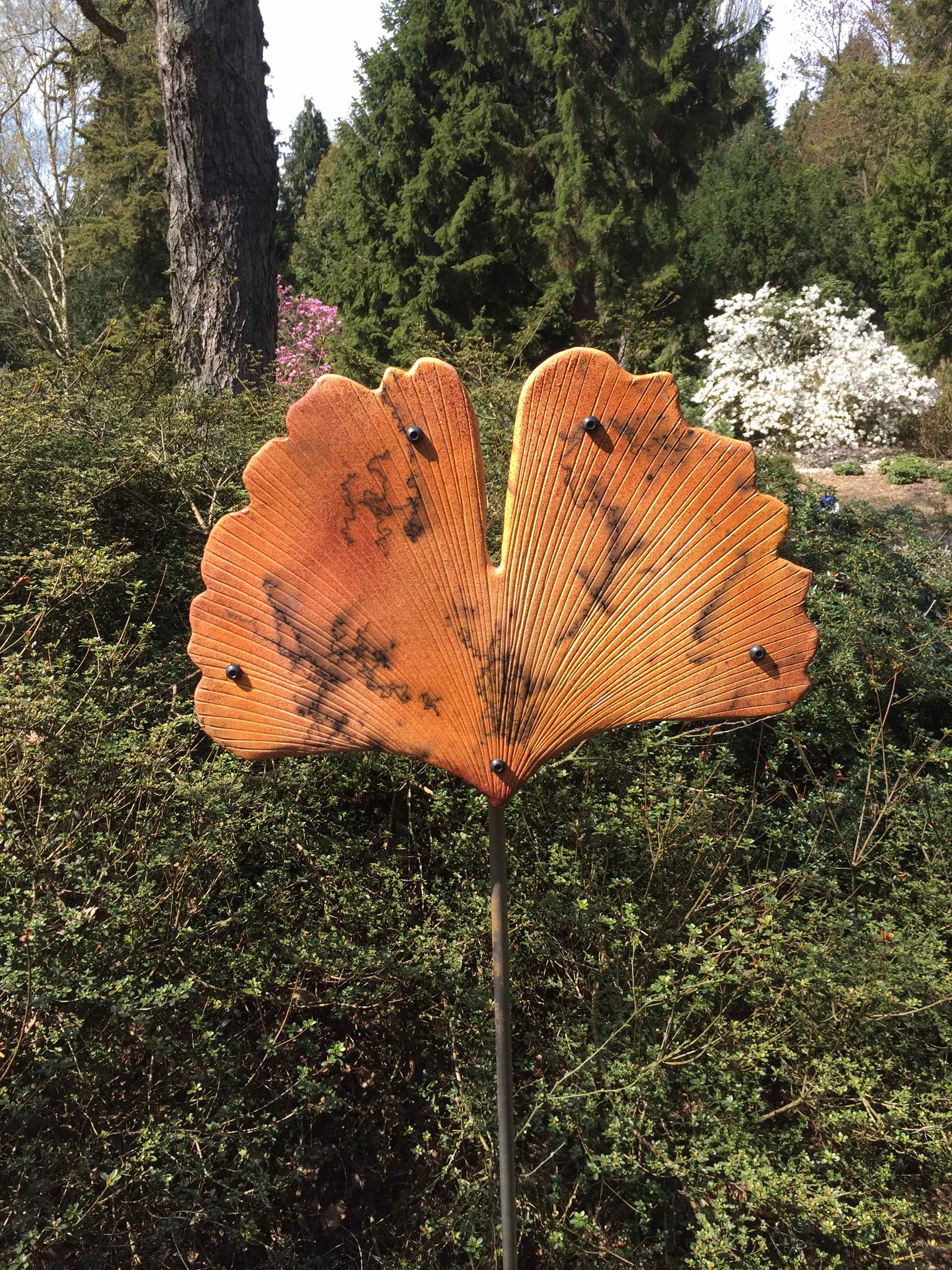 """Ray of Light"" Horsehair Raku Gingko Leaf"