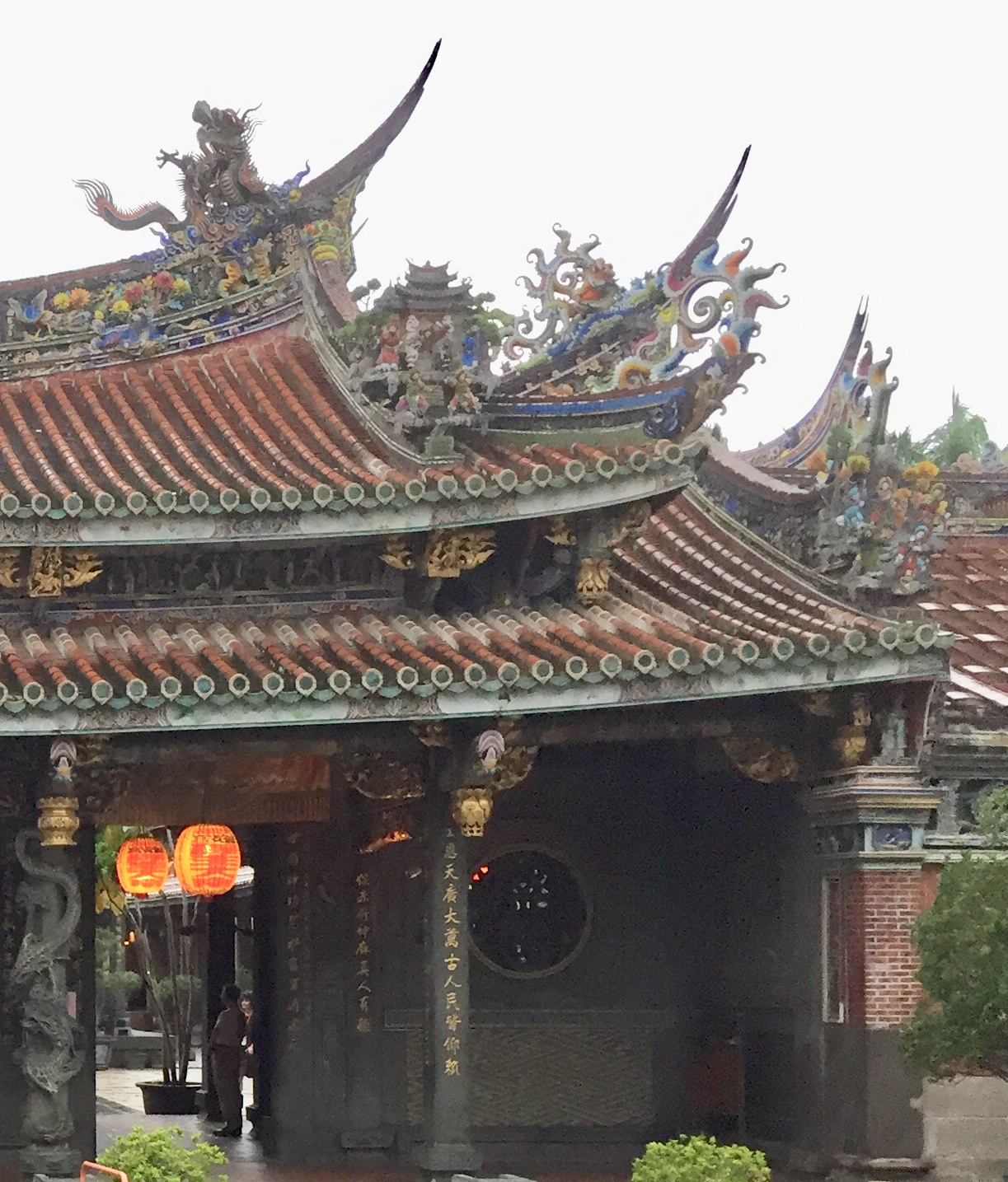 Decoration on top of the temple gate.