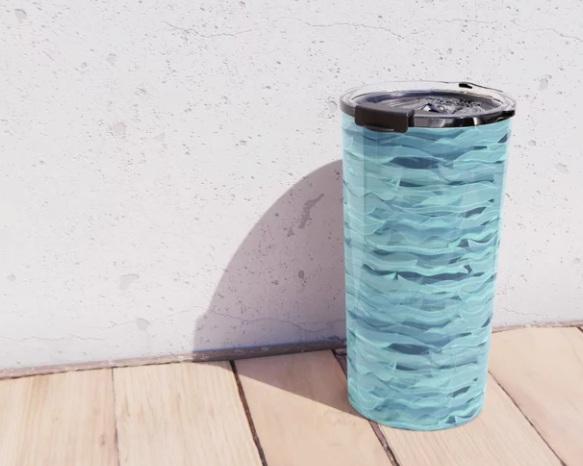Sea Waves Pattern on Travel Mug