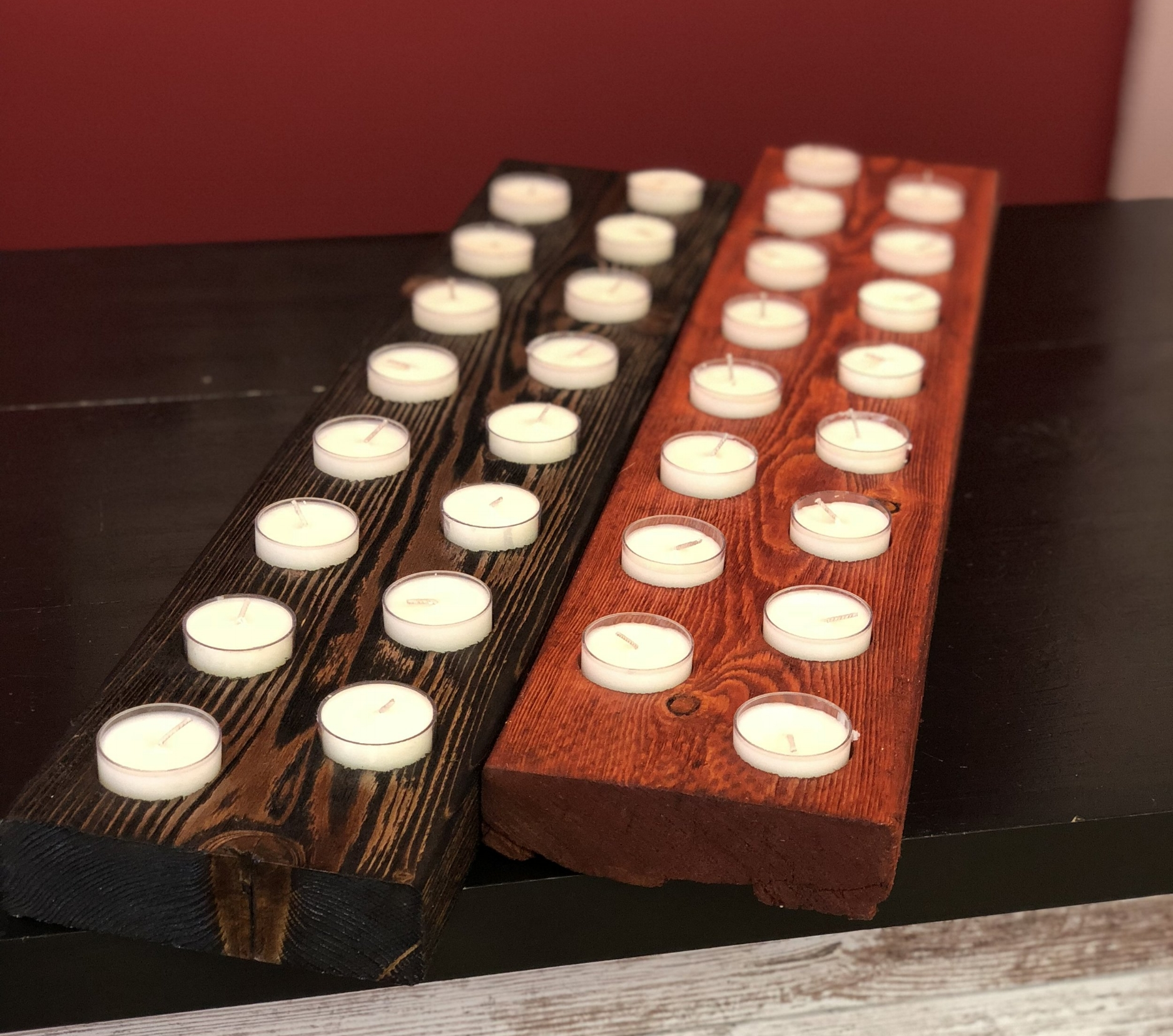 Double row Weathered wood tea light holders