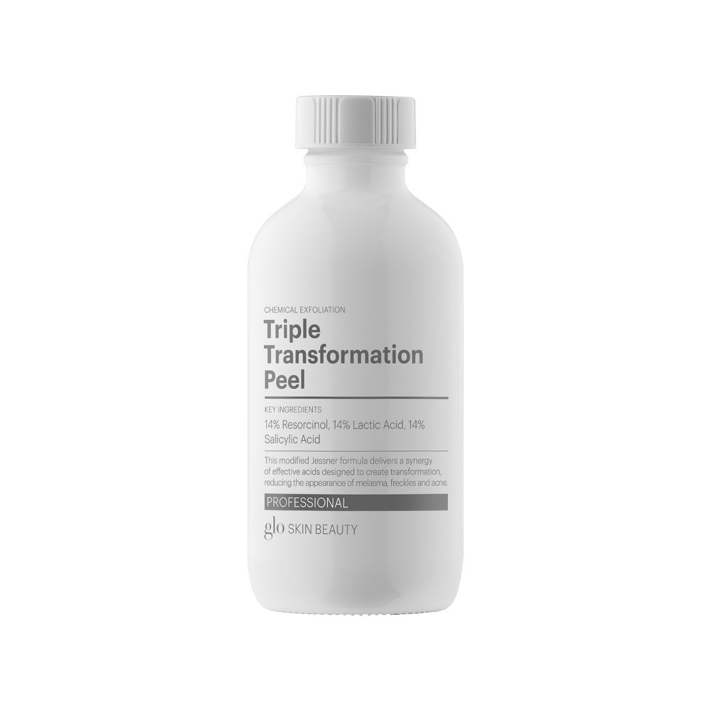 TRIPLE TRANSFORMATION    This modified Jessner formula delivers a synergy of effective acids designed to create transformation, reducing the appearance of melasma, freckles and acne.