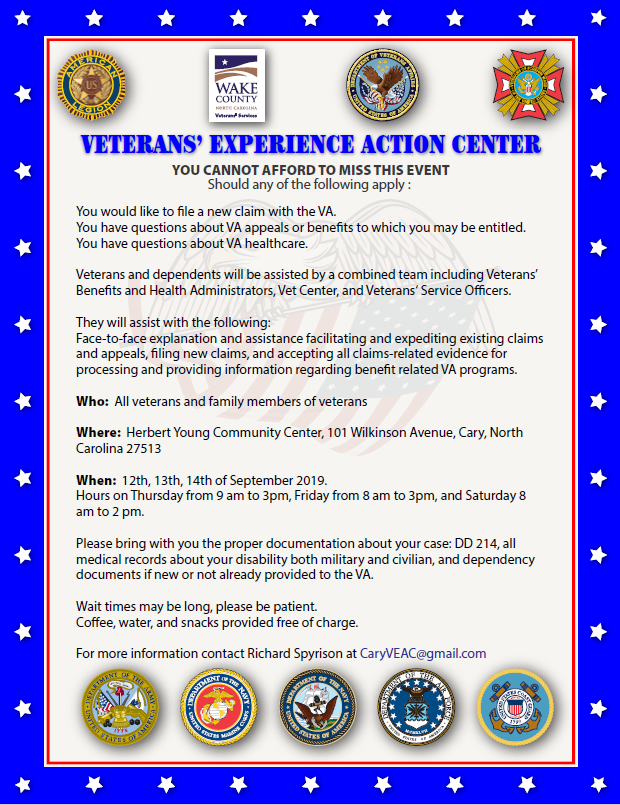 Sep 12-14 SUP Veterans Experience Action Center, Cary