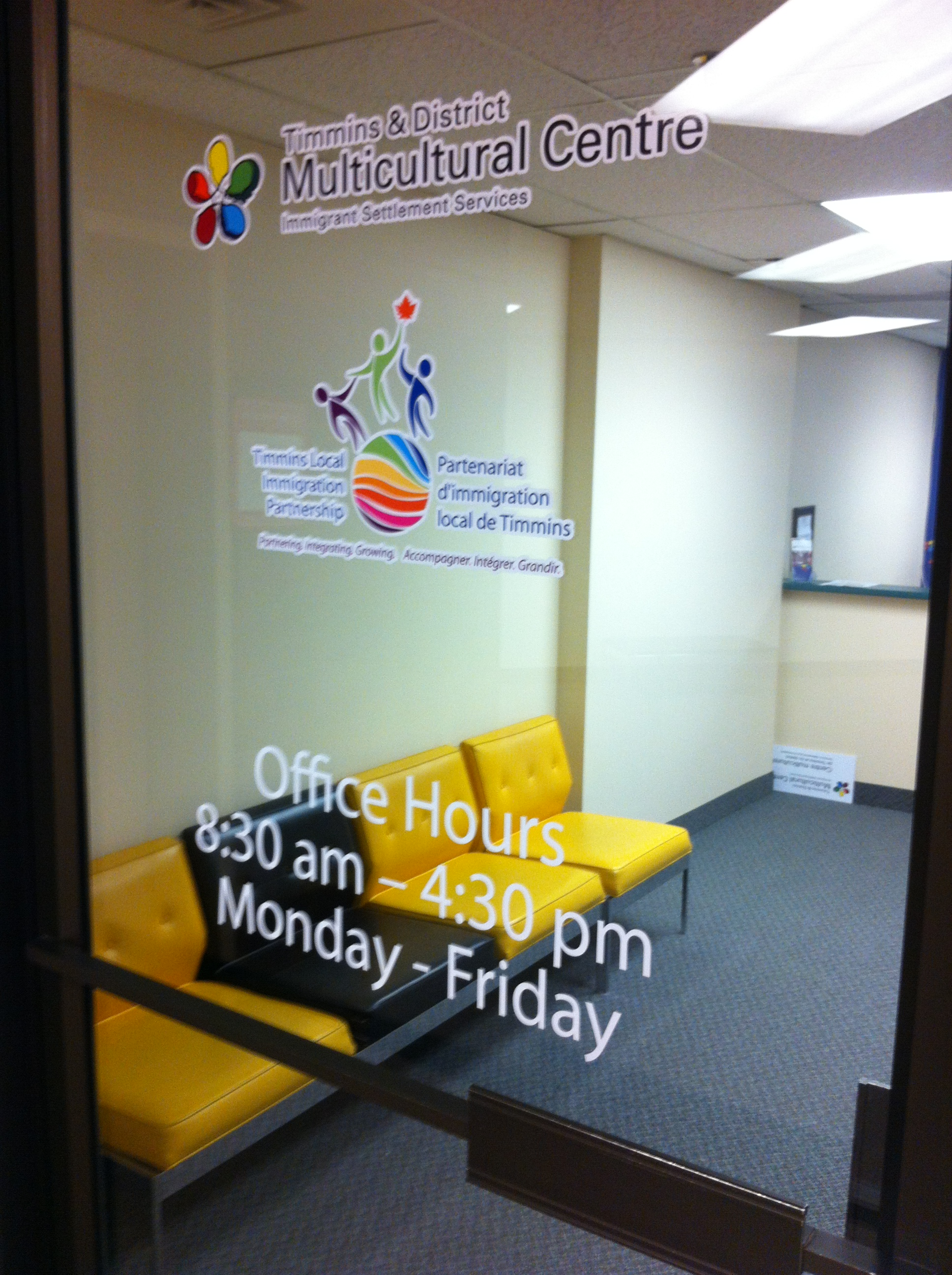 Our satellite office, the Timmins & District Multicultural Centre, at 119 Pine St. South, Timmins ON