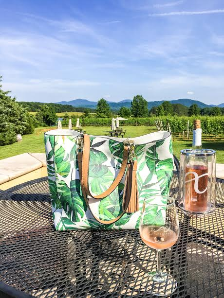 My sexy new tote on a day date at Afton Mountain Vineyards! Yes way, Rose!