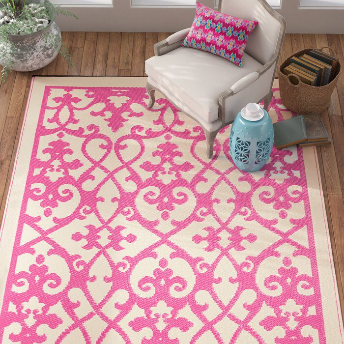 Fontayne Cream & Pink Indoor/Outdoor Area Rug