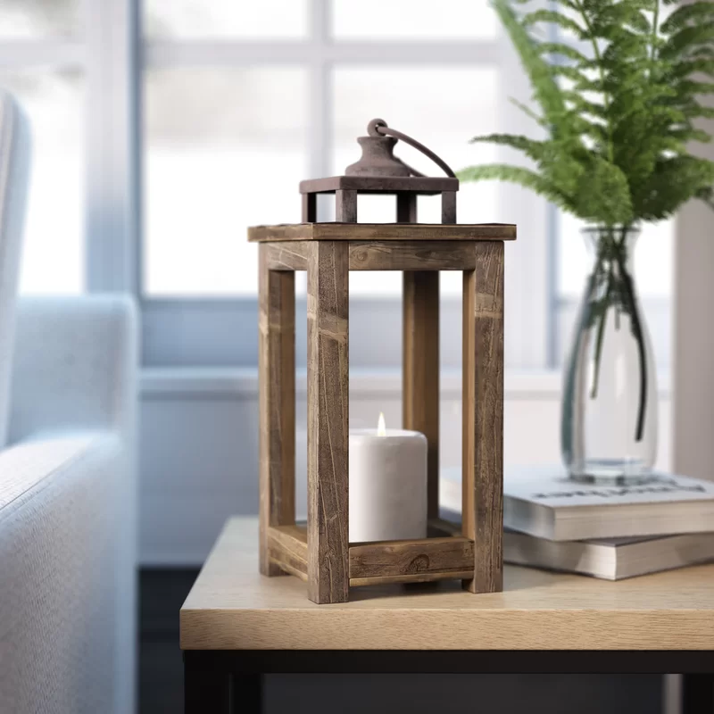 Rustic Pillar Wood Lantern