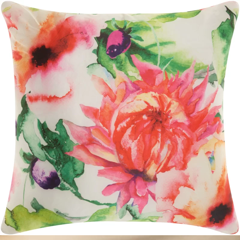 Floral Watercolor Outdoor Pillow