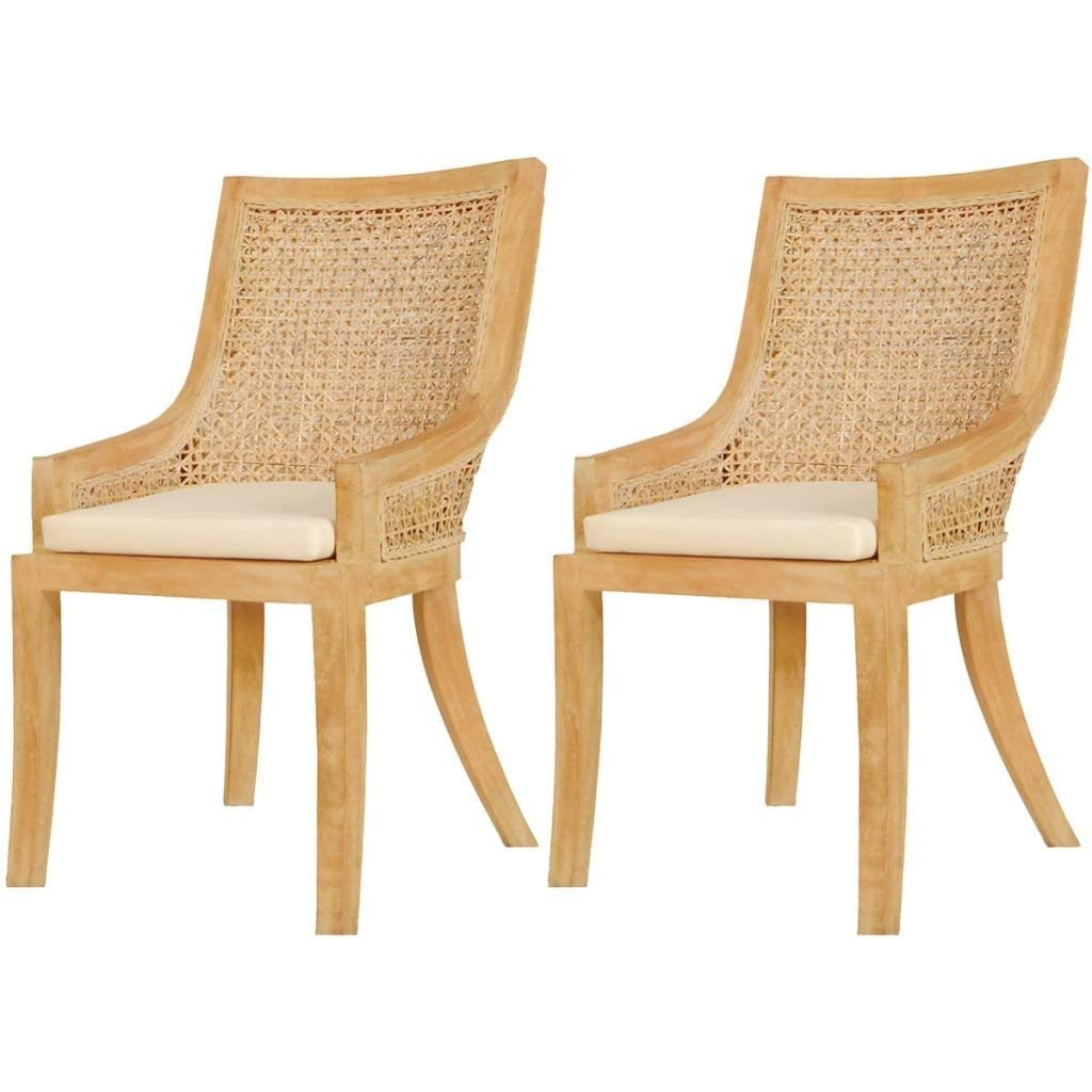 Set of 2 Rattan Wicker Dining Chair Kitchen Living Room Seat with Cushion