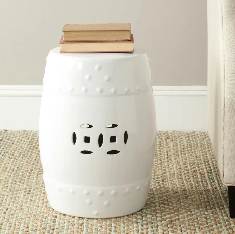 White Ceramic Garden Stool