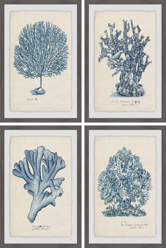 Set of 4 Vintage Coral Wall Art