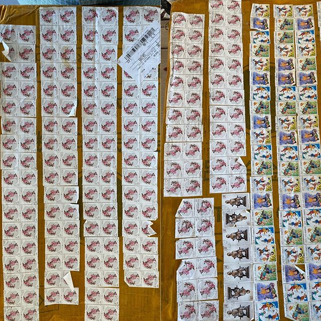 Crazy package covered in stamps. . . . . @aliexpress #luggage #china #mail